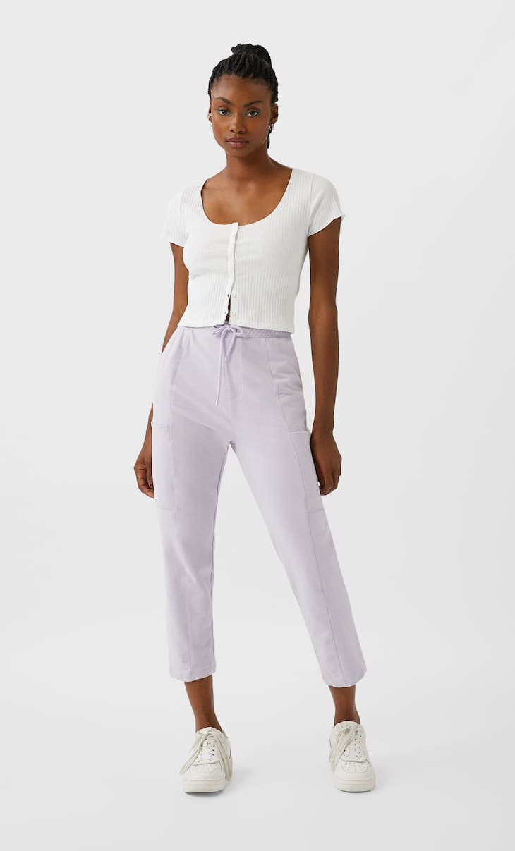 Cropped button-up top