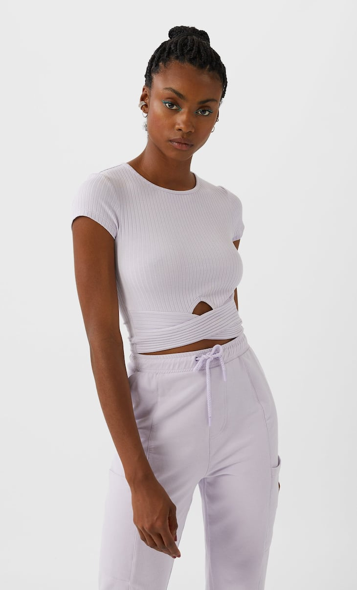 Criss-cross-front top with cut-out detail