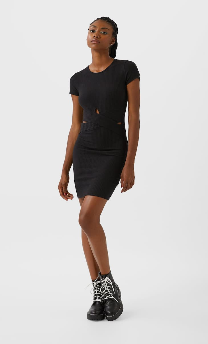 Criss-cross-front dress with cut-out detail