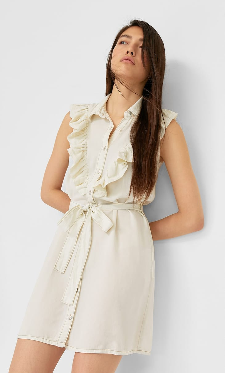 Belted lyocell dress with ruffles