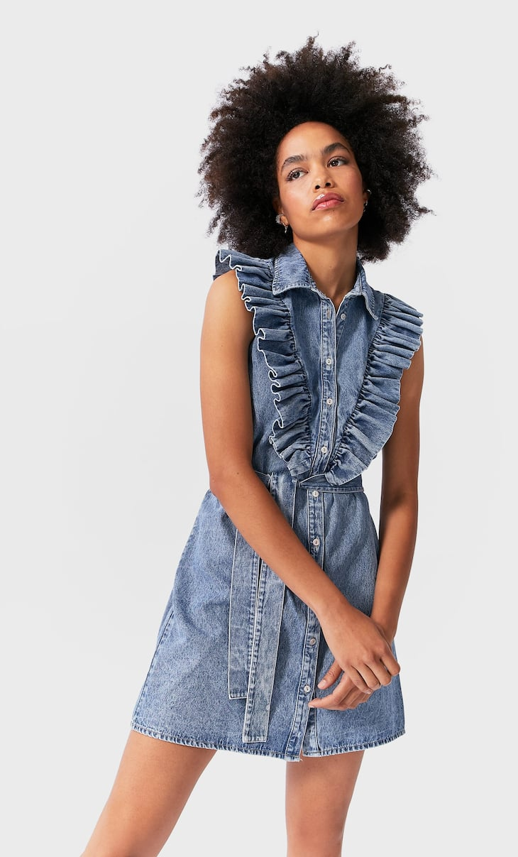 Belted denim dress with ruffles