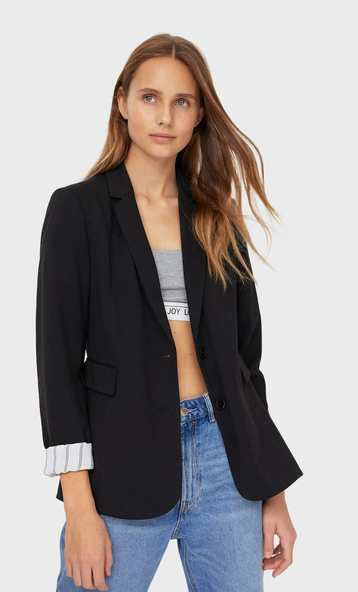 Basic knit blazer