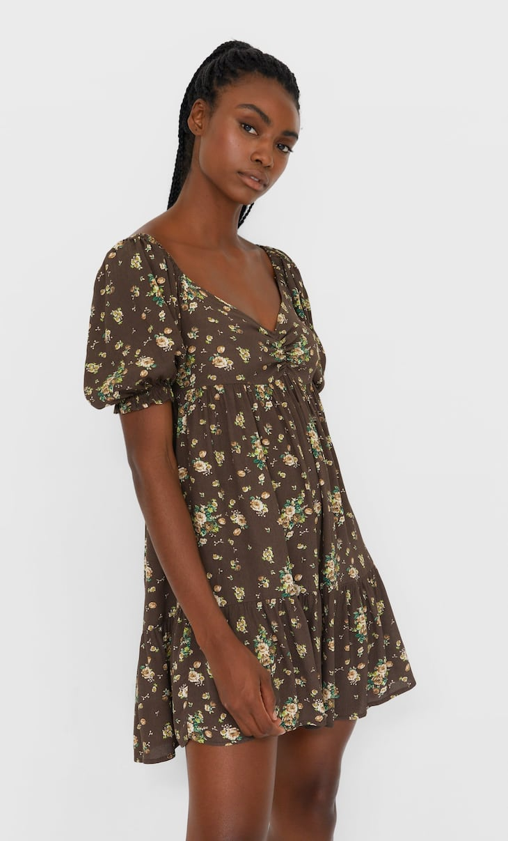 Printed dress with shirring