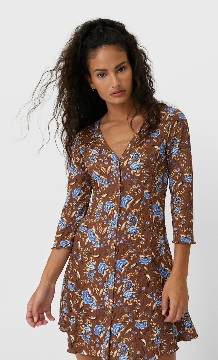 Платье с застежкой на пуговицы и принтом