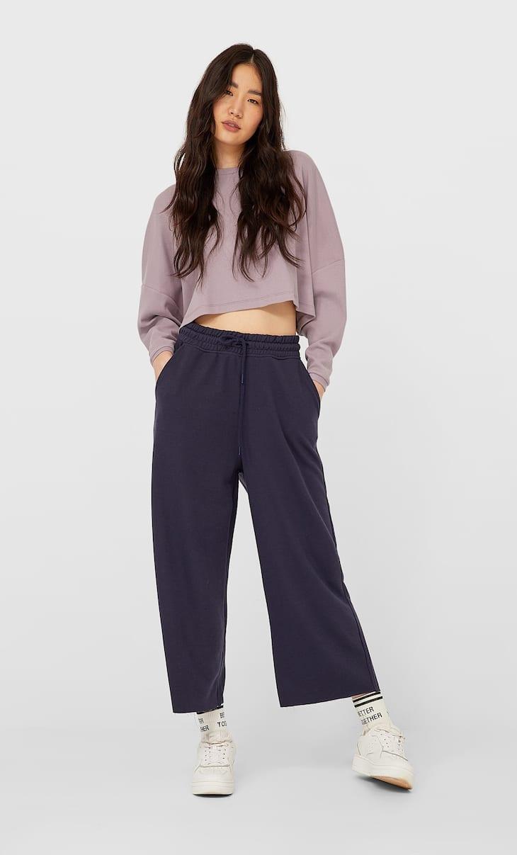 Calças culottes em felpa