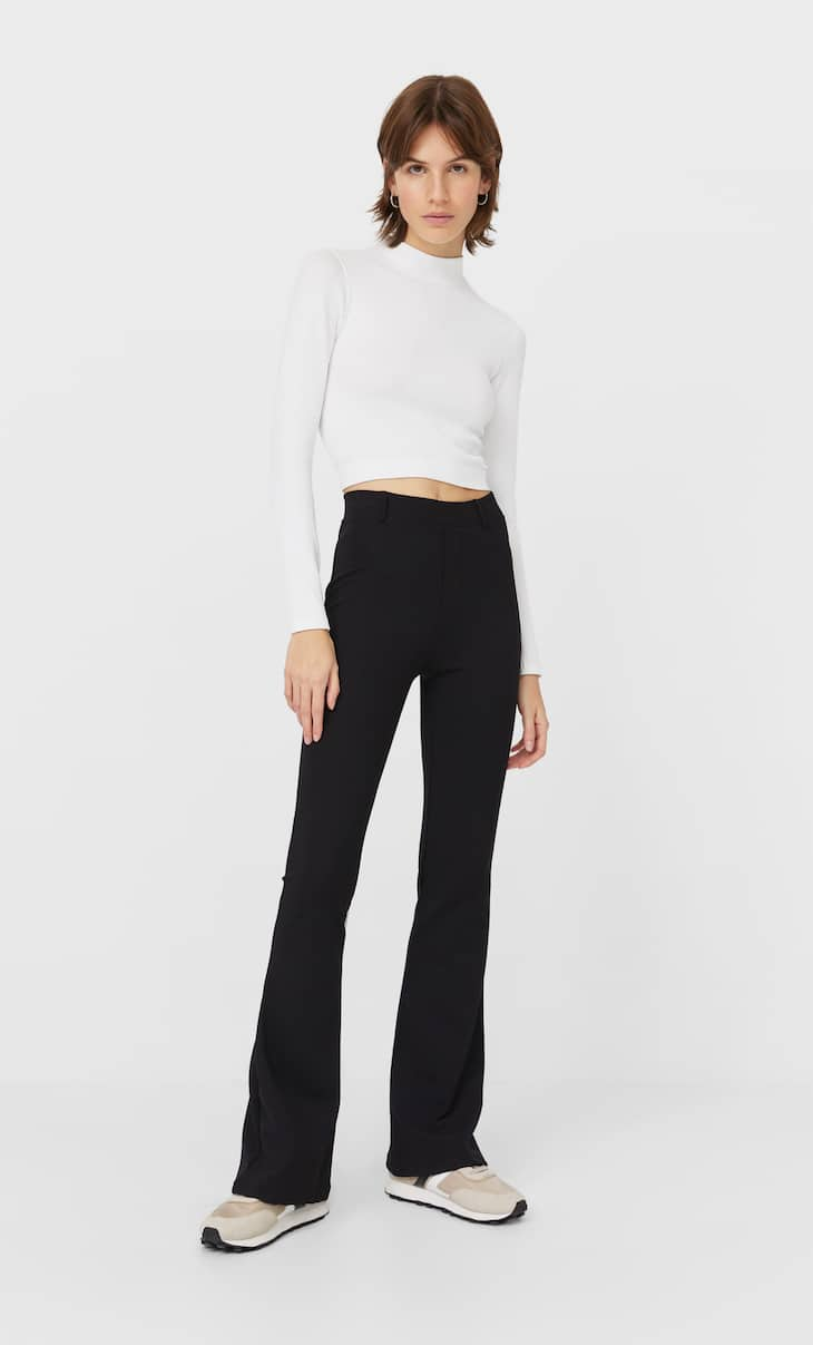 Ribbed flared trousers