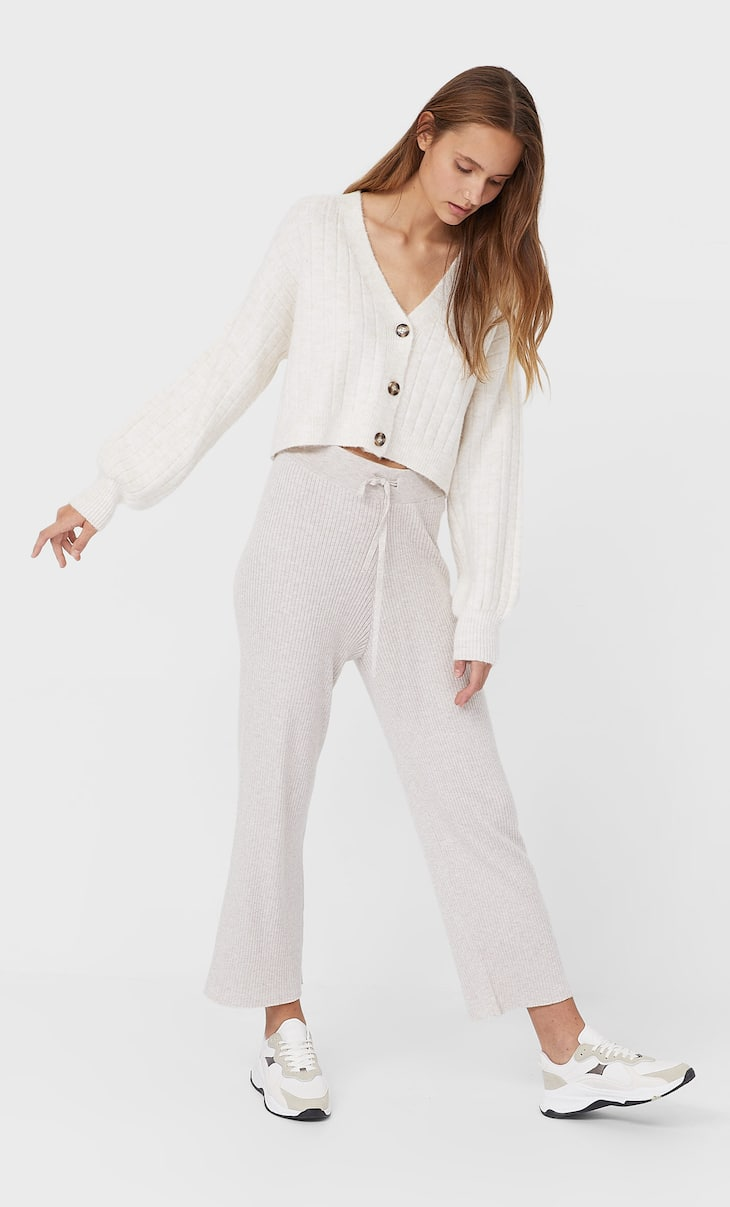 Ribbed straight-leg trousers