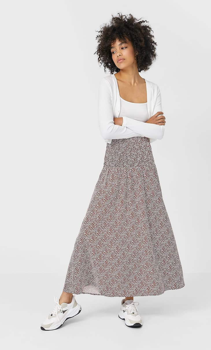 Long printed skirt with shirring