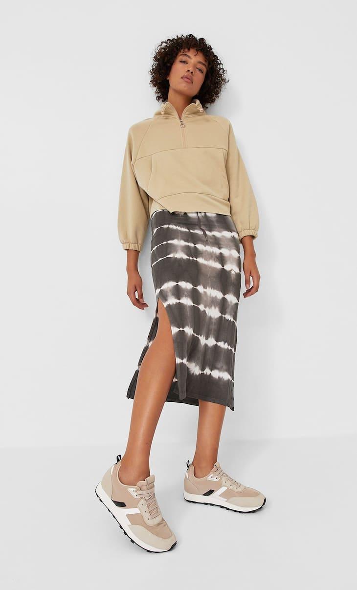 חצאית באורך ביניים בהדפס TIE DYE