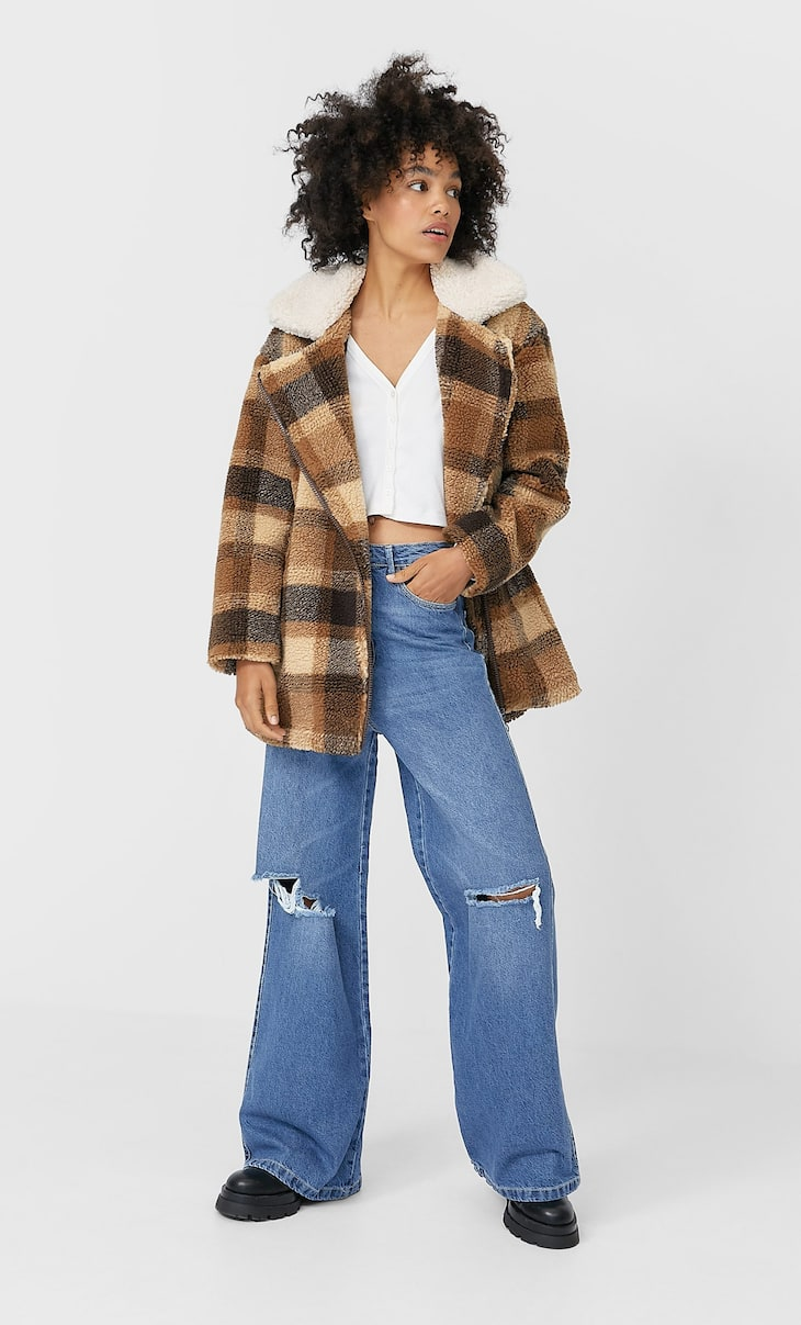 Check faux shearling coat