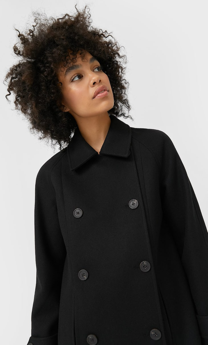 Short synthetic wool trench coat