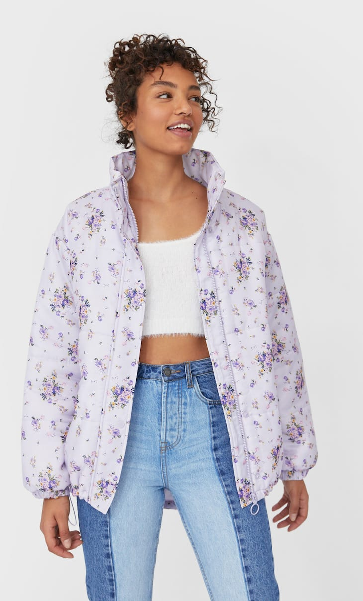 Floral print puffer jacket