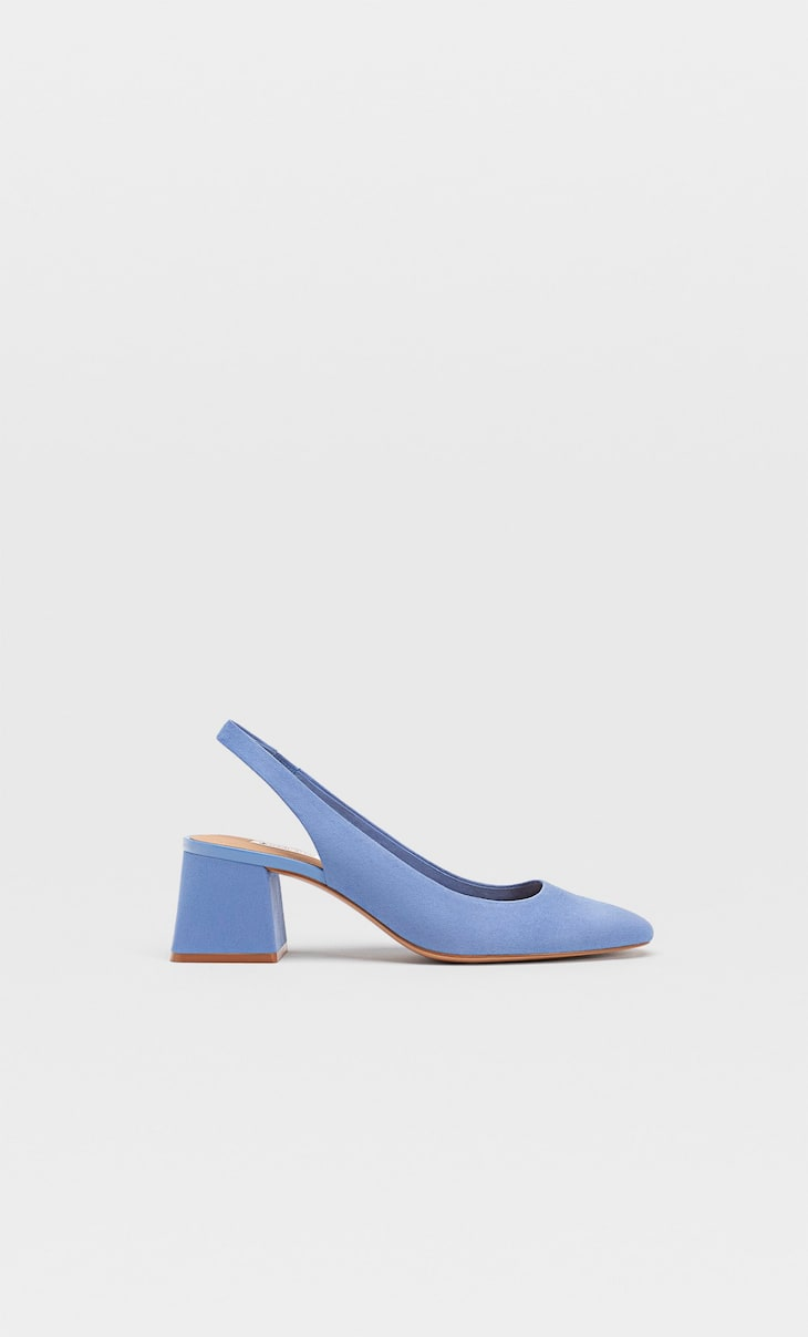 Heeled slingback shoes with square toes