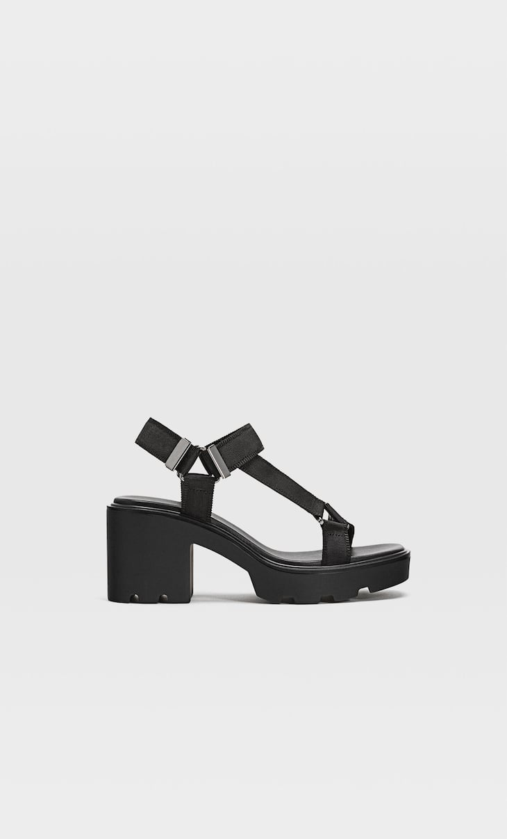 Track sole heeled sandals
