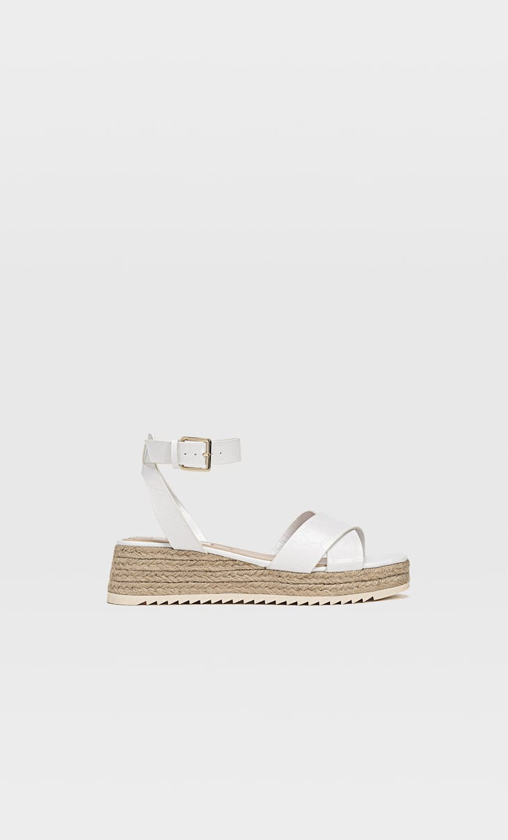 Mini platform espadrilles with embossed ankle straps