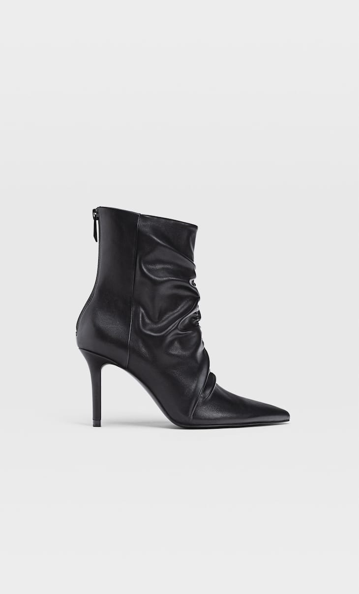 Gathered high heel ankle boots