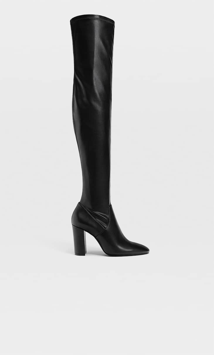Fitted high-heel knee-high boots