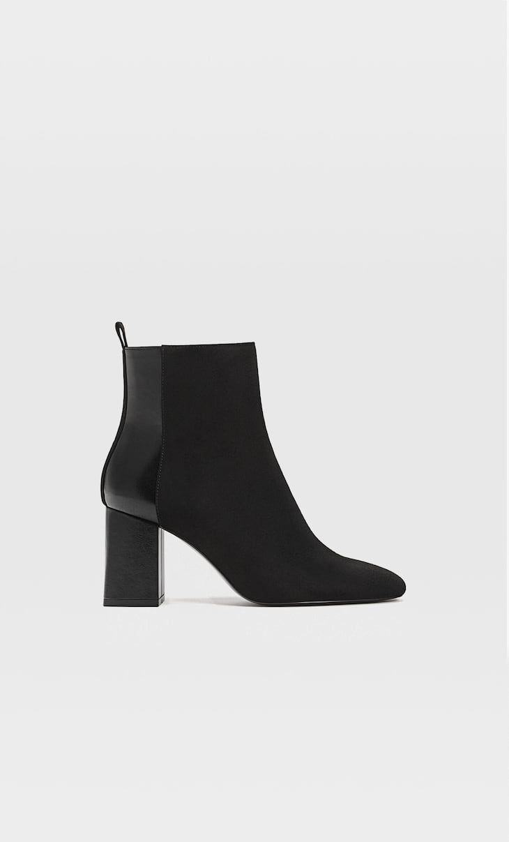 Contrasting high-heel ankle boots