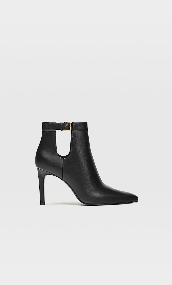 Cut-out ankle boots with stiletto heel