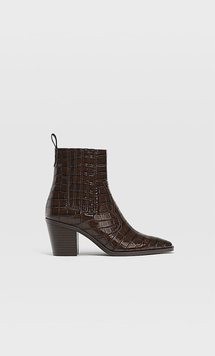 Embossed cowboy ankle boots