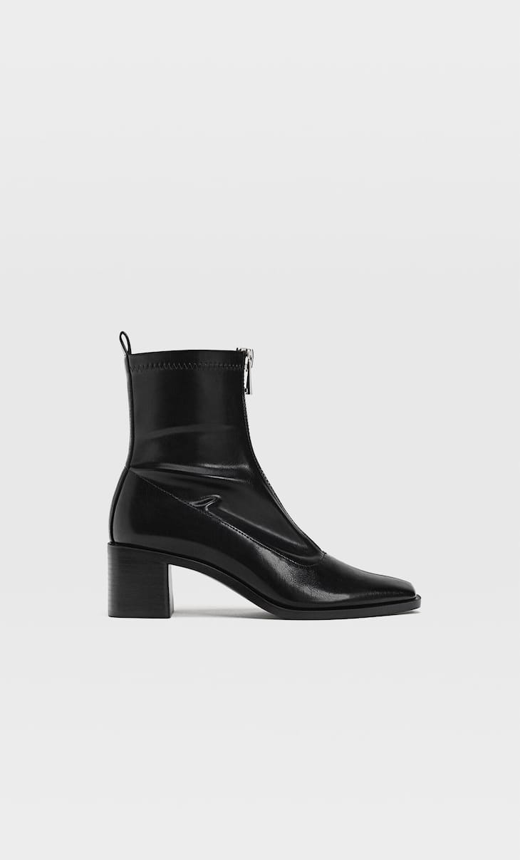 Stretch high-heel ankle boots with zips