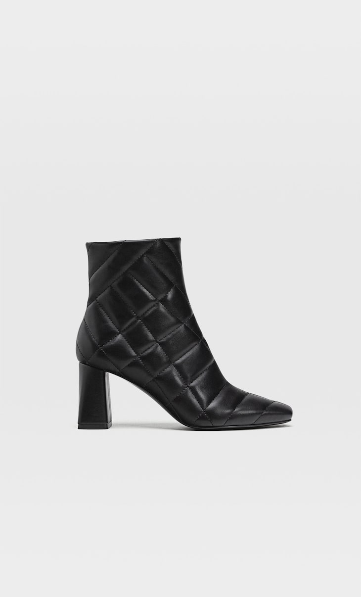 Quilted high-heel ankle boots