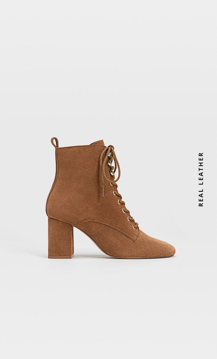 Lace-up high-heel split suede ankle boots