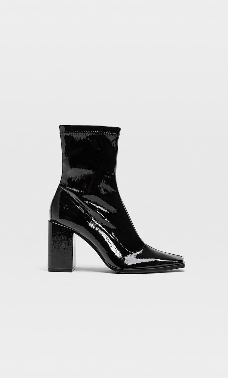 Faux patent high-heel ankle boots