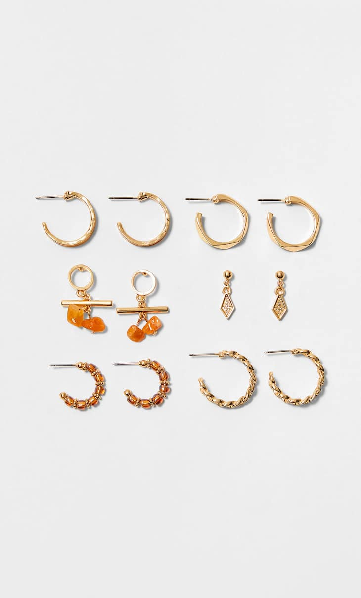 Set of 6 pairs of natural earrings