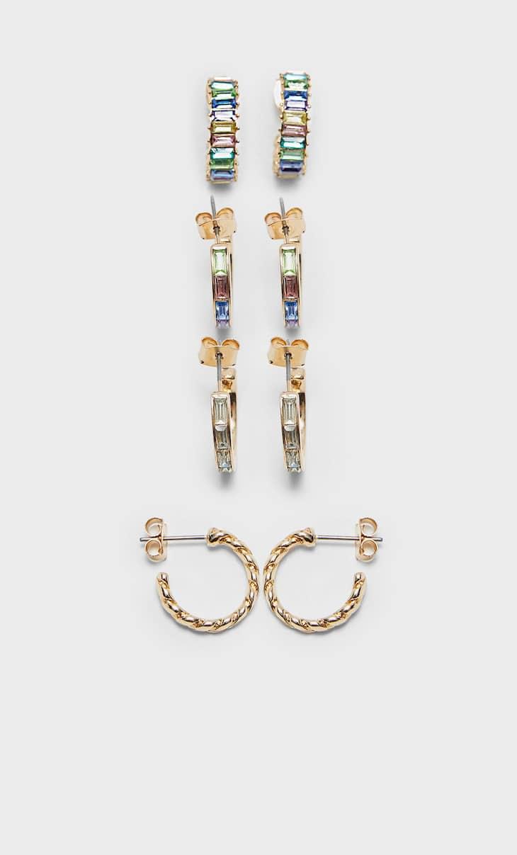 Σετ 4 σκουλαρίκια-κρίκοι με στρας