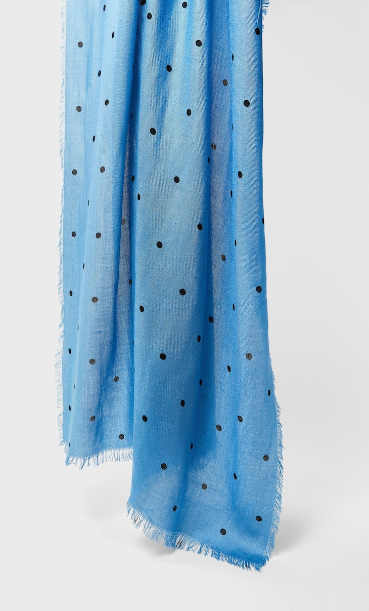 Long scarf with polka dots