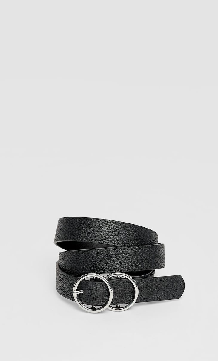 Thin double buckle belt