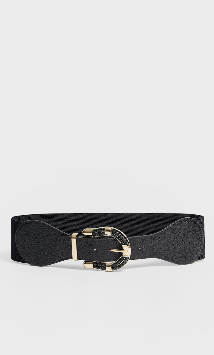 Elastic band belt with braided buckle