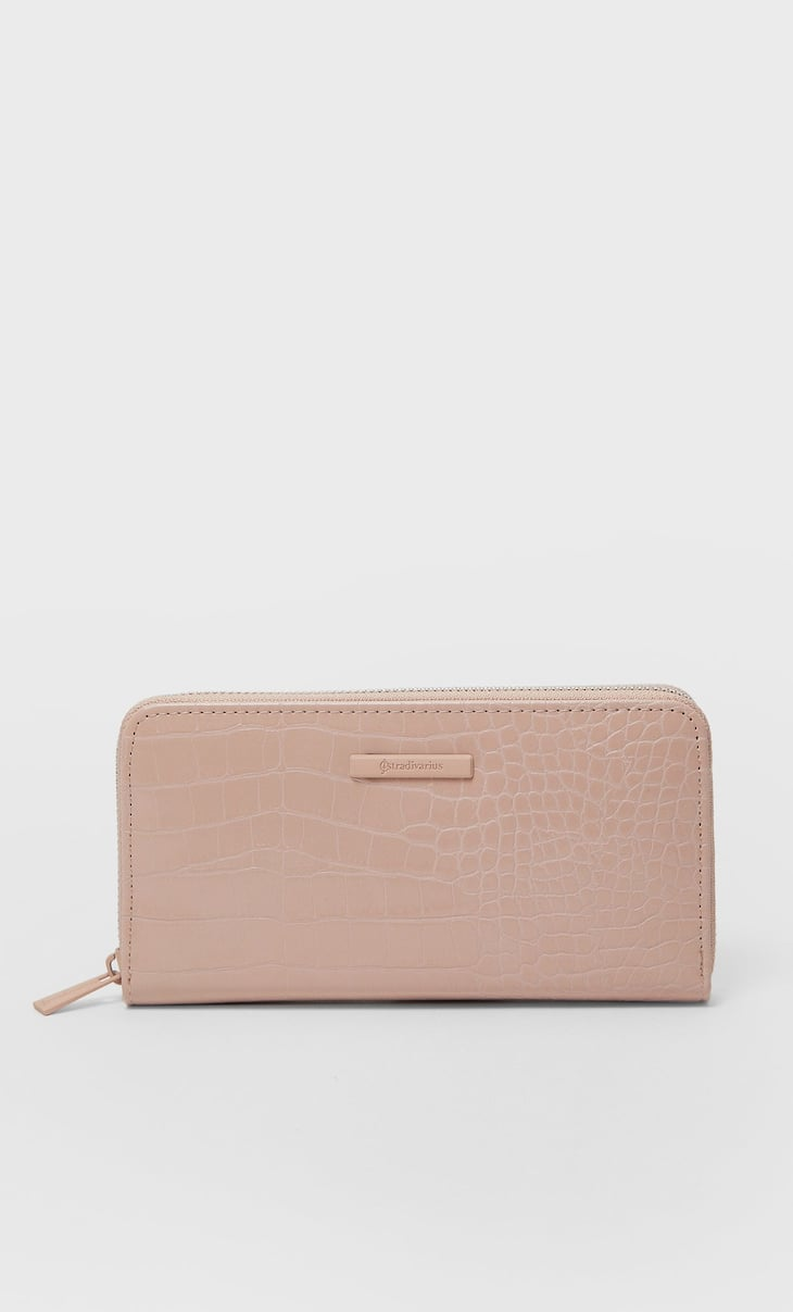 Zipped embossed wallet