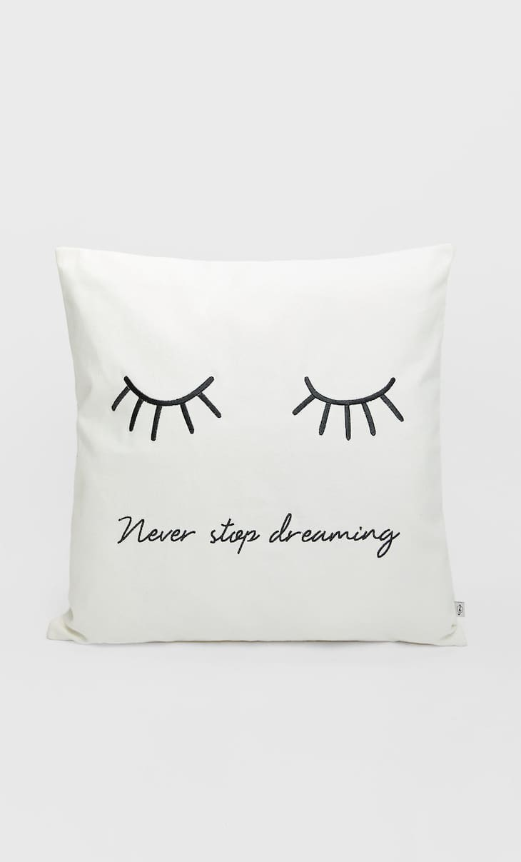 Cushion cover with eyes design