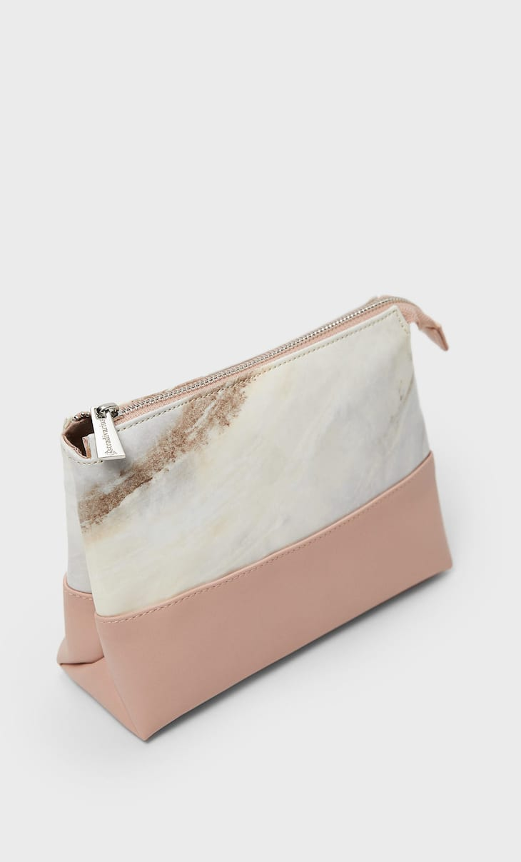 Two-tone marble print toiletry bag