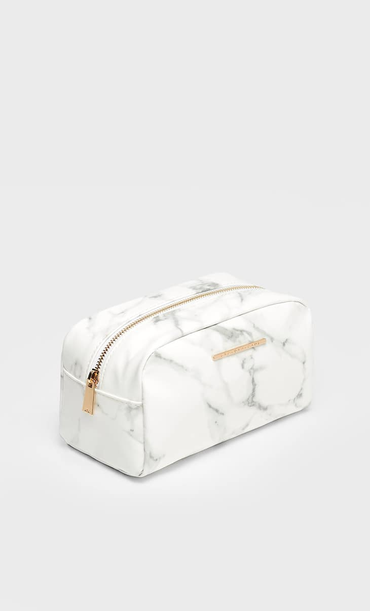 Large marble effect toiletry bag
