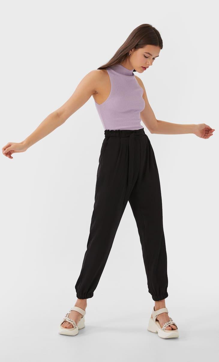 Παντελόνι baggy basic με ζώνη