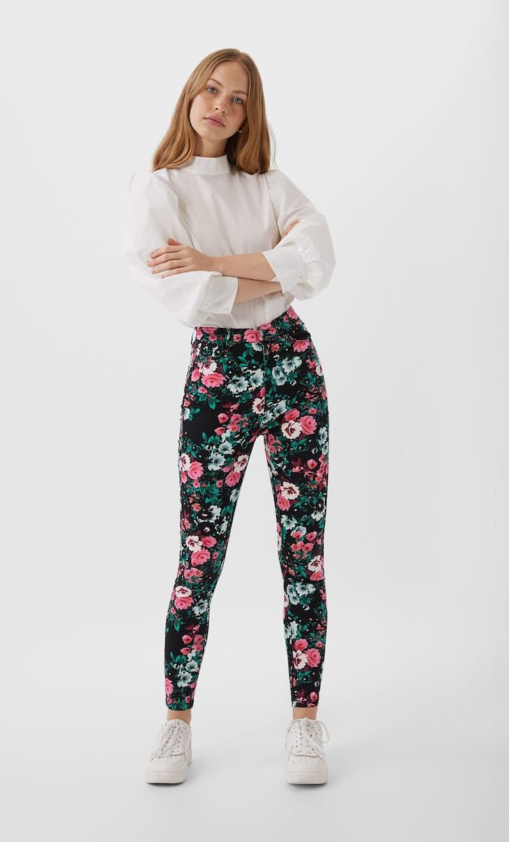 Super high waist printed trousers