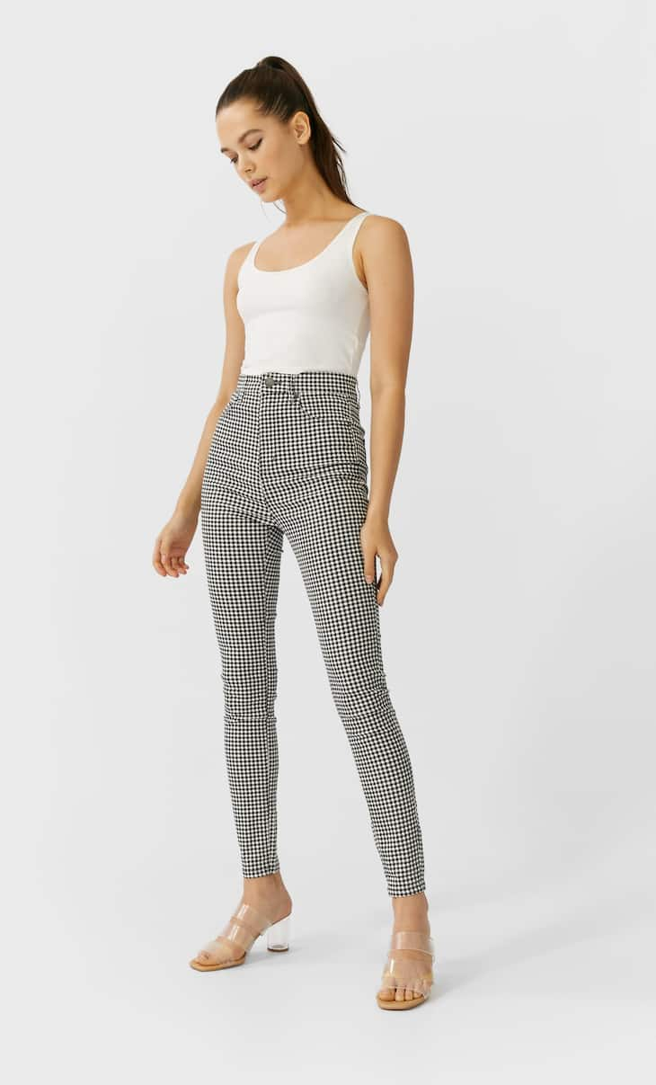 Printed super high waist trousers