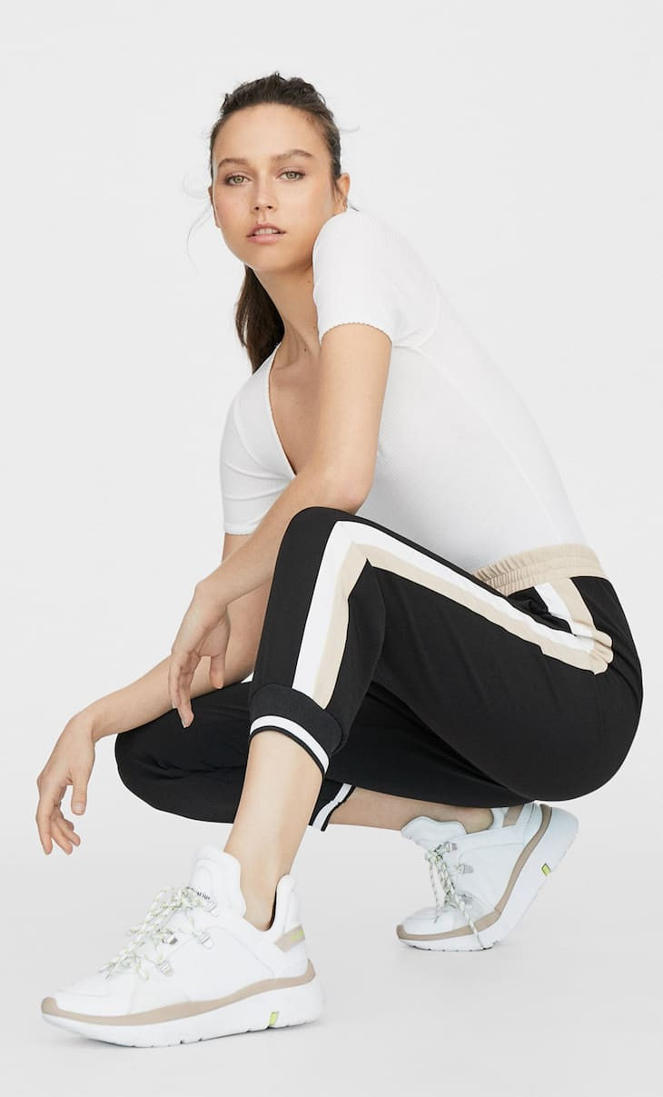 Sporty colour block trousers