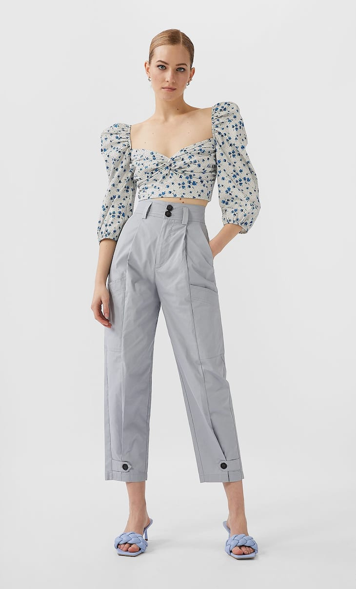 Buttoned cargo trousers