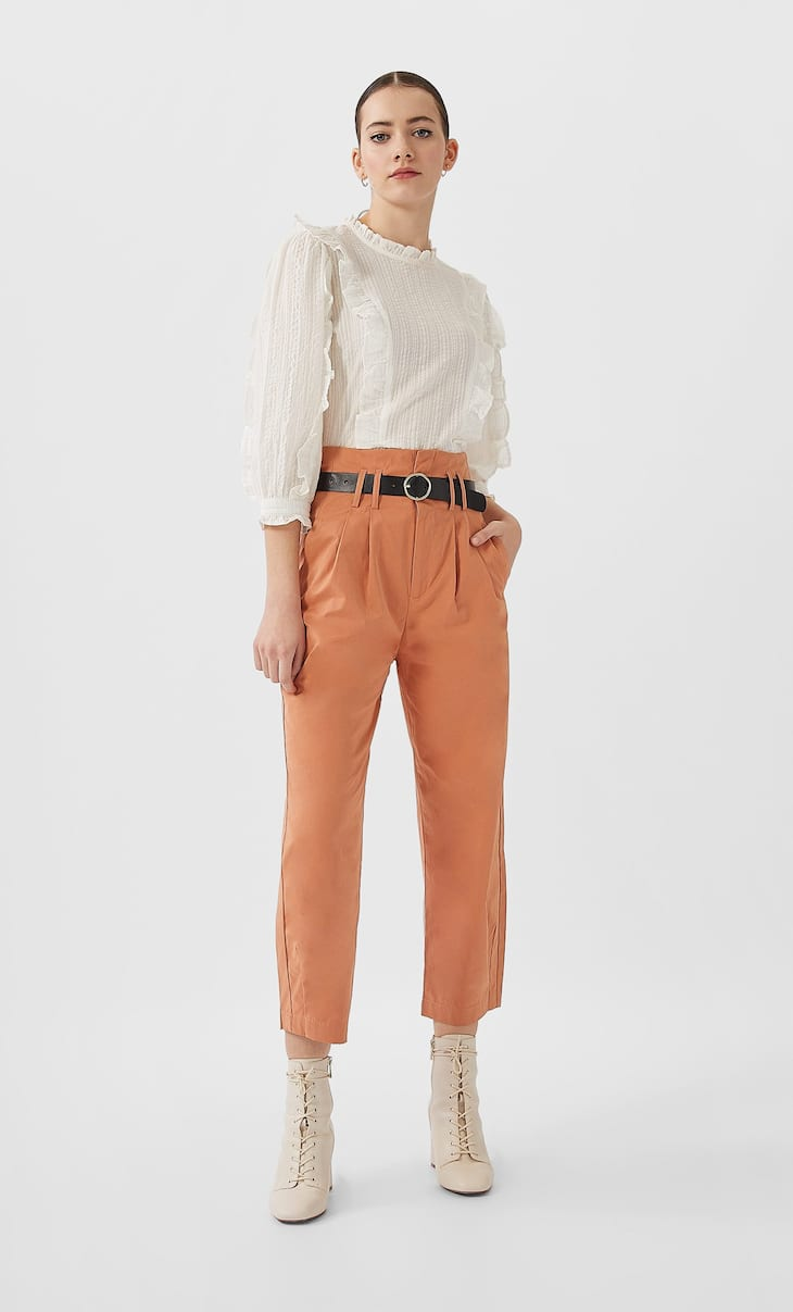 Balloon fit paperbag trousers with belt
