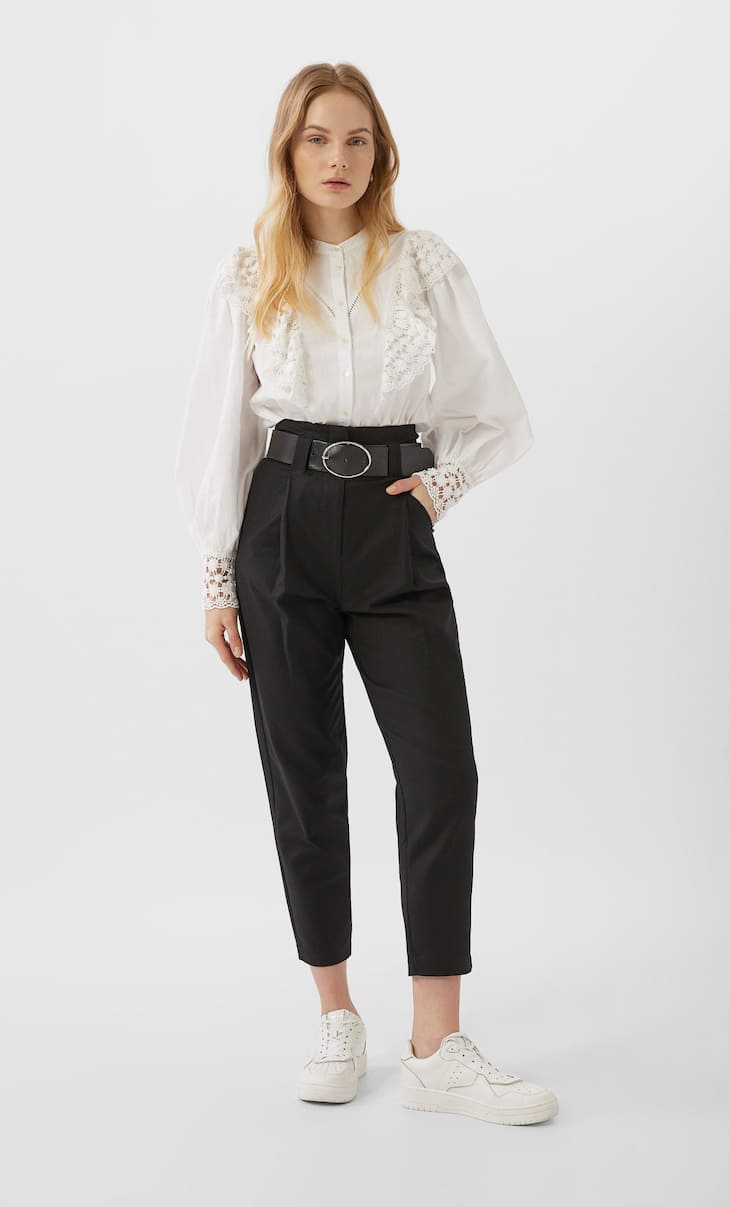 Belted utility trousers