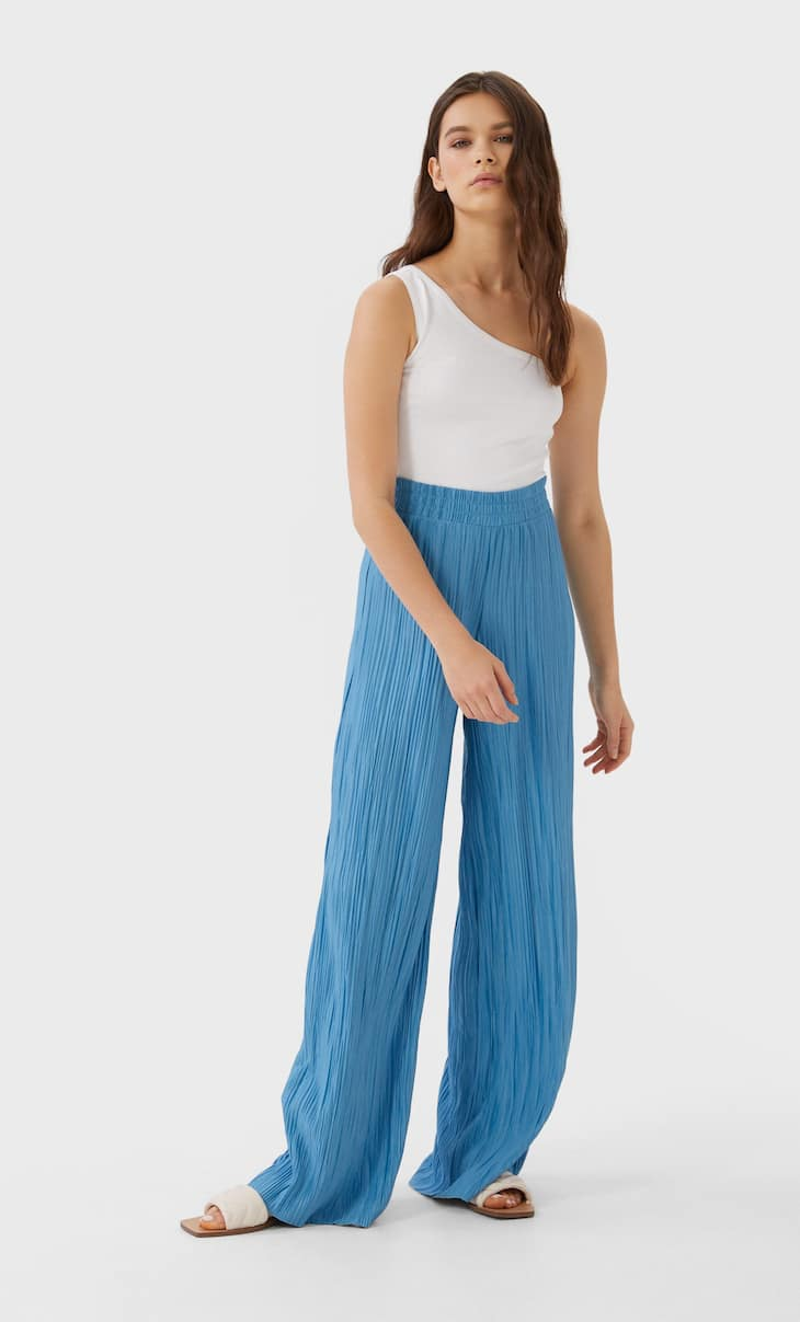 Textured wide-leg trousers