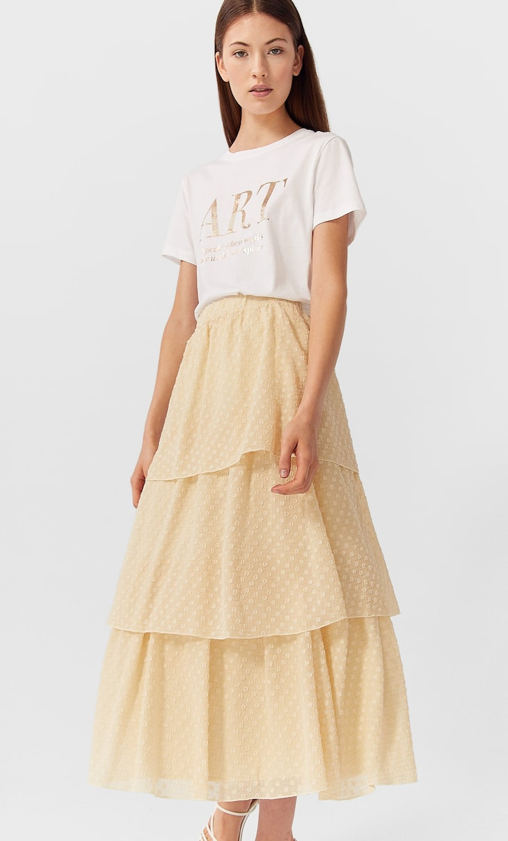 Pleated skirt with ruffles