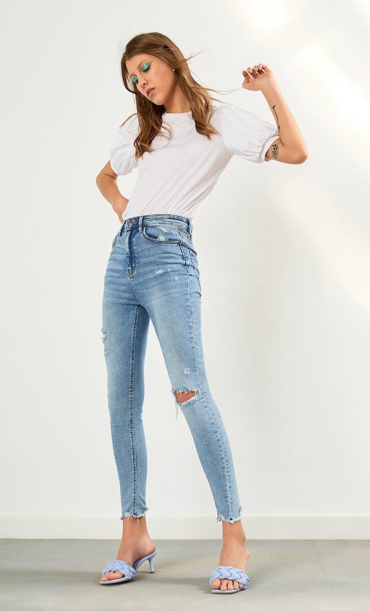 Jeans met superhoge taille en scheuren