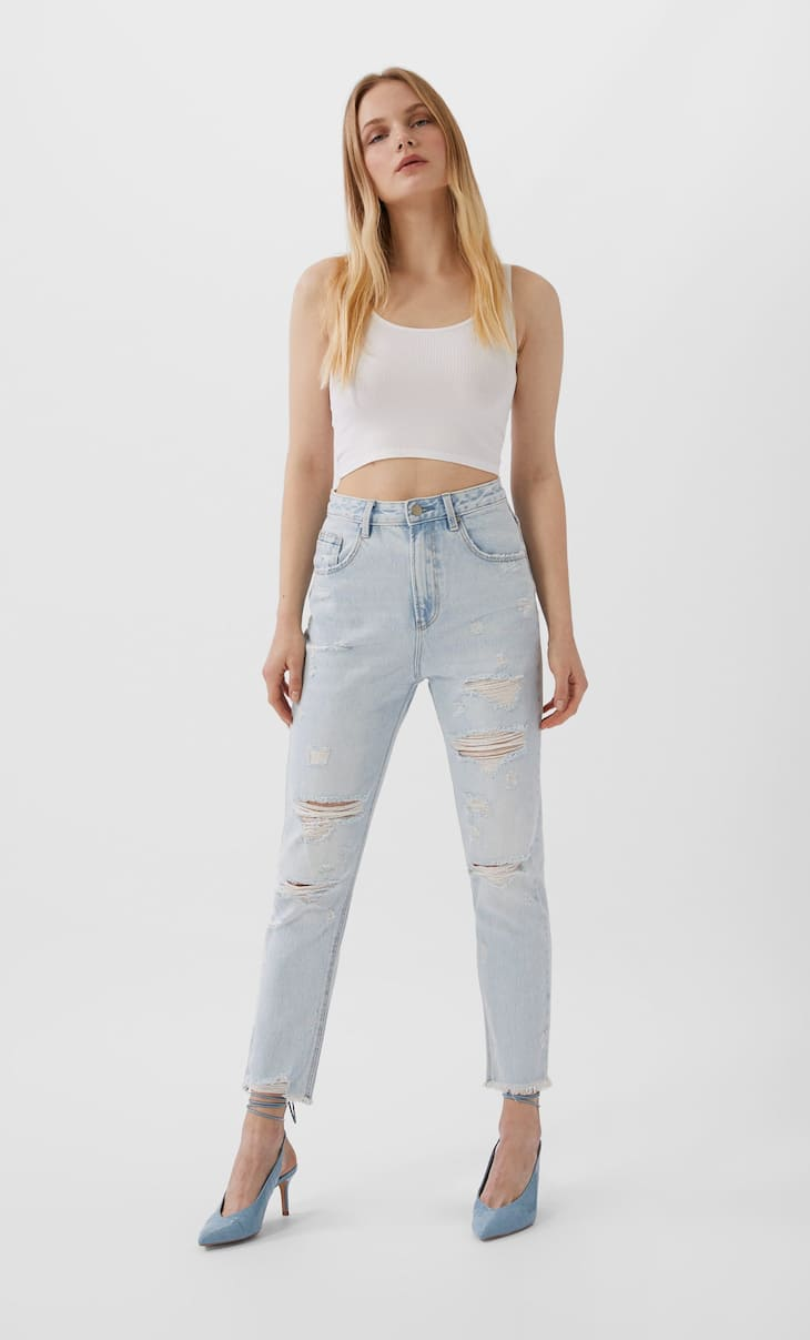 Jeans mom fit strappi