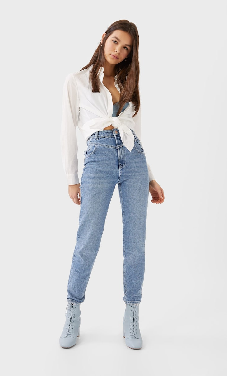 Reworked slim fit mom jeans with front yoke