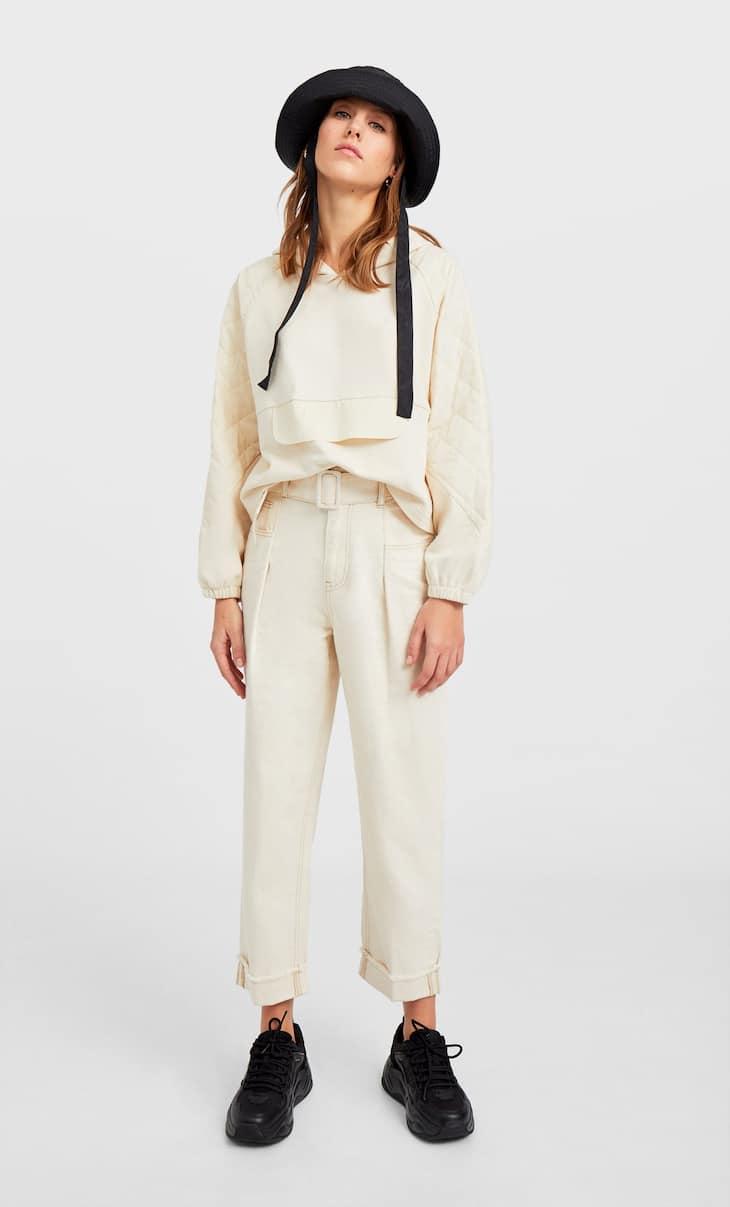 Pantaloni paperbag cu cordon